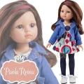 Paola Reina Дизайнерска кукла Карол с цветна рокля и дънково яке 04412