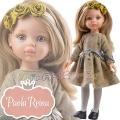 Paola Reina Дизайнерска кукла Карла с класическа рокля и диадема с рози 04413