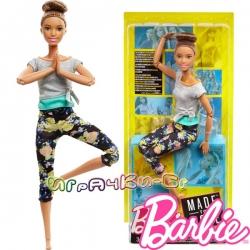Barbie Made to Move Кукла Барби тренираща йога с кафява коса FTG82