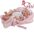 Asi Кукла бебе Мария с бяло гащеризонче и розово одеяло 0364300