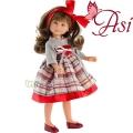 Asi Кукла Силия с карирана рокля и червена панделка 0164120