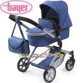Bayer Детска количка за кукли CITY NEO 3 в 1 с чанта в синьо 18135AA