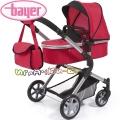 Bayer Детска количка за кукли CITY NEO 3 в 1 с чанта в червено 18199AA