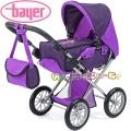 Bayer Детска количка за кукли CITY STAR с чанта и кош - лилава фея 13612AA