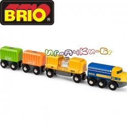 Brio Товарен влак с три вагона 33982
