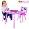Eichhorn - Дървена масичка с 2 стола Hello Kitty