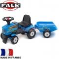 FALK Трактор с ремарке за бутане с крачета Farm Mustang Blue