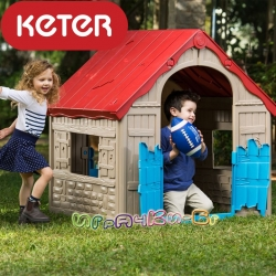 Keter Wonderfold сгъваема пластмасова къща за игра червено/бежово/синьо