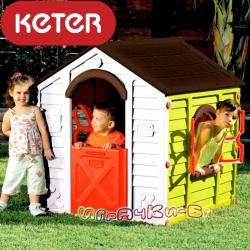 Keter Rancho сгъваема пластмасова къща за игра зелено/кафяво
