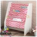 KidKraft 14233 Дървена библиотека със слинг бяло с розово