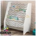 KidKraft 14234 Дървена библиотека със слинг бяло със сиво