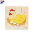Woody Дървен пъзел Кокошка и яйце многослоен