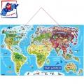 """Woody Дървен магнитен пъзел """"Карта на света"""" 91190"""